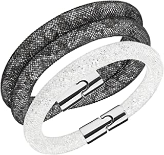 Crystal Stardust Set of 2 Grey Double and Single White Bracelets #5184500