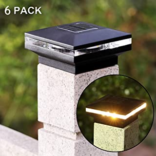 MAGGIFT 15 Lumen Solar Post Lights, Outdoor Post Cap Light for Fence Deck or Patio, Solar Powered Caps, Warm White High Brightness SMD LED Lighting, Lamp Fits 4x4, 5x5 or 6x6 Wooden Posts, 6 Pack