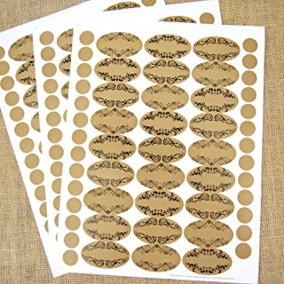 81 Blank Apothecary Oval Poly Weatherproof Kraft Look Essential Oil Bottle Labels with 81 Round Cap Labels by Rivertree Life