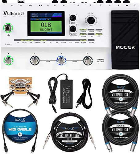 """new arrival MOOER 2021 GE250 Guitar Amp Modelling and Multi-Effects Pedal Bundle with Blucoil 2-Pack of 10-FT Balanced XLR Cables, 10' Straight Instrument Cable (1/4""""), 5' MIDI Cable, and 2-Pack online of Pedal Patch Cables outlet sale"""