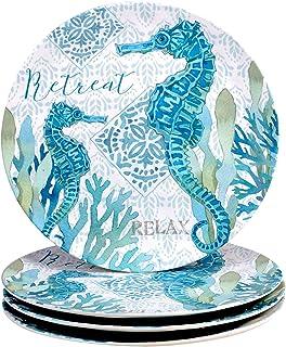 "Certified International Beachcomber 11"" Melamine Dinner Plate, Set of 4, Multi Colored"