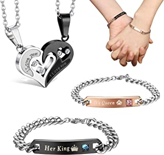 b6b6333fb7 Jstyle 4Pcs Couple Necklace Bracelets Matching Set for Women Men Love Heart Pendant  Necklace His &