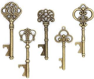 Ella Celebration 50 Key Bottle Openers, Assorted Vintage Skeleton Keys, Wedding Party Favors (50, Antique Gold)