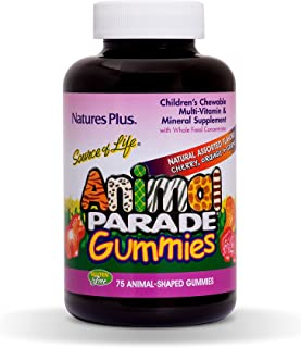 NaturesPlus Animal Parade Source of Life Gummies - Natural Orange, Grape and Cherry Flavors - 75 Animal Shaped Gummies - W...