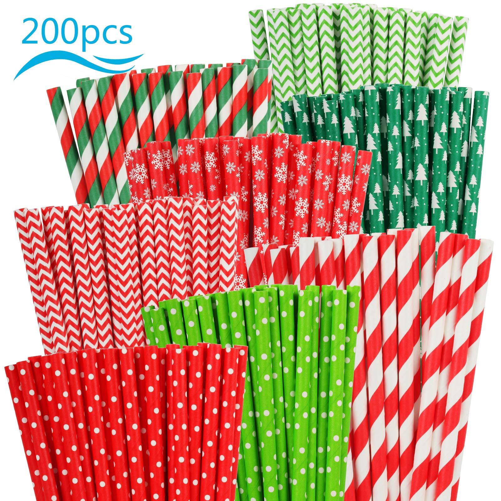 PATAZOK Paja Papel Biodegradable Colorido 200PCS Pajitas de Papel ...