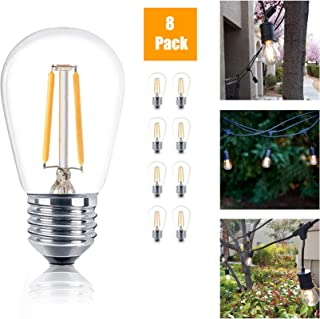 Reo-Lite Vintage S14 Edison LED Light Bulbs, 1W 100 Lumens, E26 Base, 2400K Warm White Weatherproof Waterproof Commercial Grade Bulb, Great for Outdoor String Lights, 8 Pack
