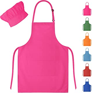 Dapper&Doll Pink Kids Chef Hat and Apron for Boys Girls Ages 4-10