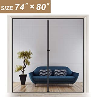 Wide Magnetic Screen Door 74 x 80 for Sliding Glass Door and French Door Hands Free Entry, Fit Doors Size Up to 74