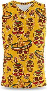 Rainbow Rules Mexican Sugar Skulls in Gold Mens Sleeveless Tank Top