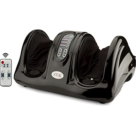 SToK ST-FM01 Electric Foot Massager Machine/Shiatsu Kneading Rolling for Pain Relief with Remote Control (BLACK)