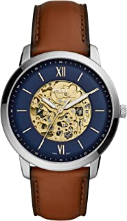 Fossil Men's Automatic Watch analog Display and Leather Strap, ME3160