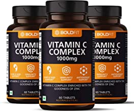 Boldfit Vitamin C Complex 1000mg tablets with Amla & Zinc For Immune Support for adults, Antioxidant Supplement & Supports Collagen For Hair, Skin, Nails & Joints (180 Tablets)