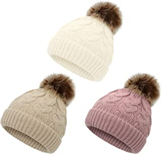 American Trends Baby Girl Hat Baby Beanie Knit Toddler Winter Hats for Girls Boys Warm Infant Cap Pom Pom