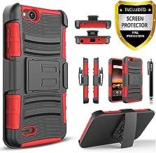 Circlemalls [Combo Holster] Phone Case Cover Compatible For ZTE Avid 4/ZTE Fanfare 3/ZTE Blade Vantage/ZTE Tempo X/ZTE Tempo Go/ZTE ZFive G LTE/ZTE ZFive C Z558VL, With [Screen Protector]-Red