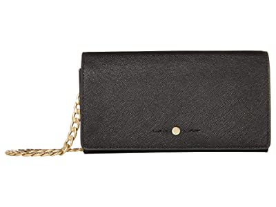 J.Crew Saffiano Convertible Chain Wallet (Black) Handbags
