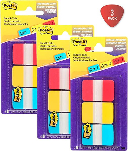 Post It Tabs 1 In Solid Red Yellow Blue Durable Writable Repositionable Sticks Securely Removes Cleanly 22 Tabs Color 66 Tabs On The Go Dispenser 686 RYB Pack Of 3
