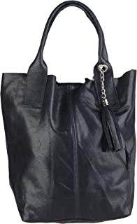 Chicca Borse Handbag Shopper Borsa a Mano da Donna in Vera Pelle Made in Italy 39x36x20 Cm