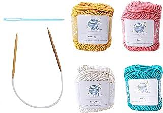 mindfulknits Beginner's Knitting Kit with Knitting Needles, Yarn Needles & 100% Cotton Knitting Yarn (4) – Tropical Beginn...