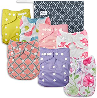 Pink Blossom Baby Cloth Pocket Diapers 7 Pack, 7 Bamboo Inserts, 1 Wet Bag by Nora`s Nursery