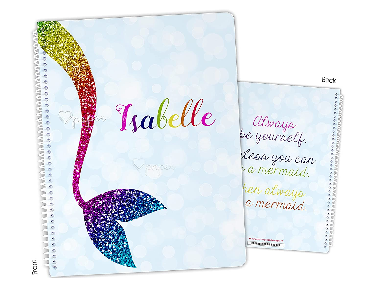 Personalized Rainbow Mermaid Tail Bound Notebook Sketchbo Limited time for free shipping Spiral Outstanding