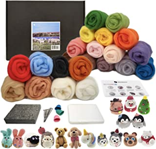Pure Wool Felting Pad 22 Colors 70S Wool Wool Queen Premium Needle Felting Kit for Beginners Finger Guards 13 Instructions for Starters 6 Needles Various Sizes