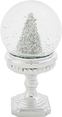 Roman Glitter Silvertone Christmas Tree 100MM 7.5 Inch Snow Water Globe on Pedestal