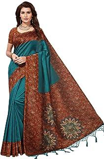 CRAFTSTRIBE Bridal Printed Saree Party Wear Casual Wedding Art Silk Women's Bollywood Sari