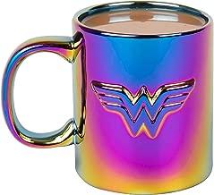 Wonder Woman Ceramic Coffee Mug - Iridescent Metallic Electroplate Finish with Wonder Woman Logo - 11 oz