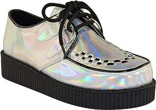 Fashion Thirsty Womens Creeper Goth Punk Platform Lace Up Shoes Flat Size