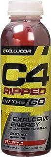 Cellucor C4 ON THE GO オン・ザ・ゴープレワークアウトエナジードリンク フルーツパンチ 345 ml(12本パック)[海外直送品]