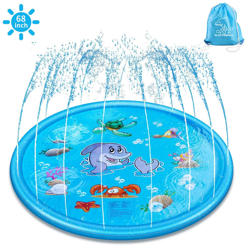 ELECTRAPICK 170 cm Splash Pad, Aspersor de Juego, Alfombra Inflable de Juego de Agua de Playa/Césped Jardín para Niños: Amazon.es: Juguetes y juegos