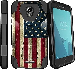 MINITURTLE Compatible with Alcatel idealXCITE, Alcatel Fiji, Alcatel Verso, Alcatel Raven, Alcatel CameoX Kickstand Dual Layer Black Case - American Flag USA