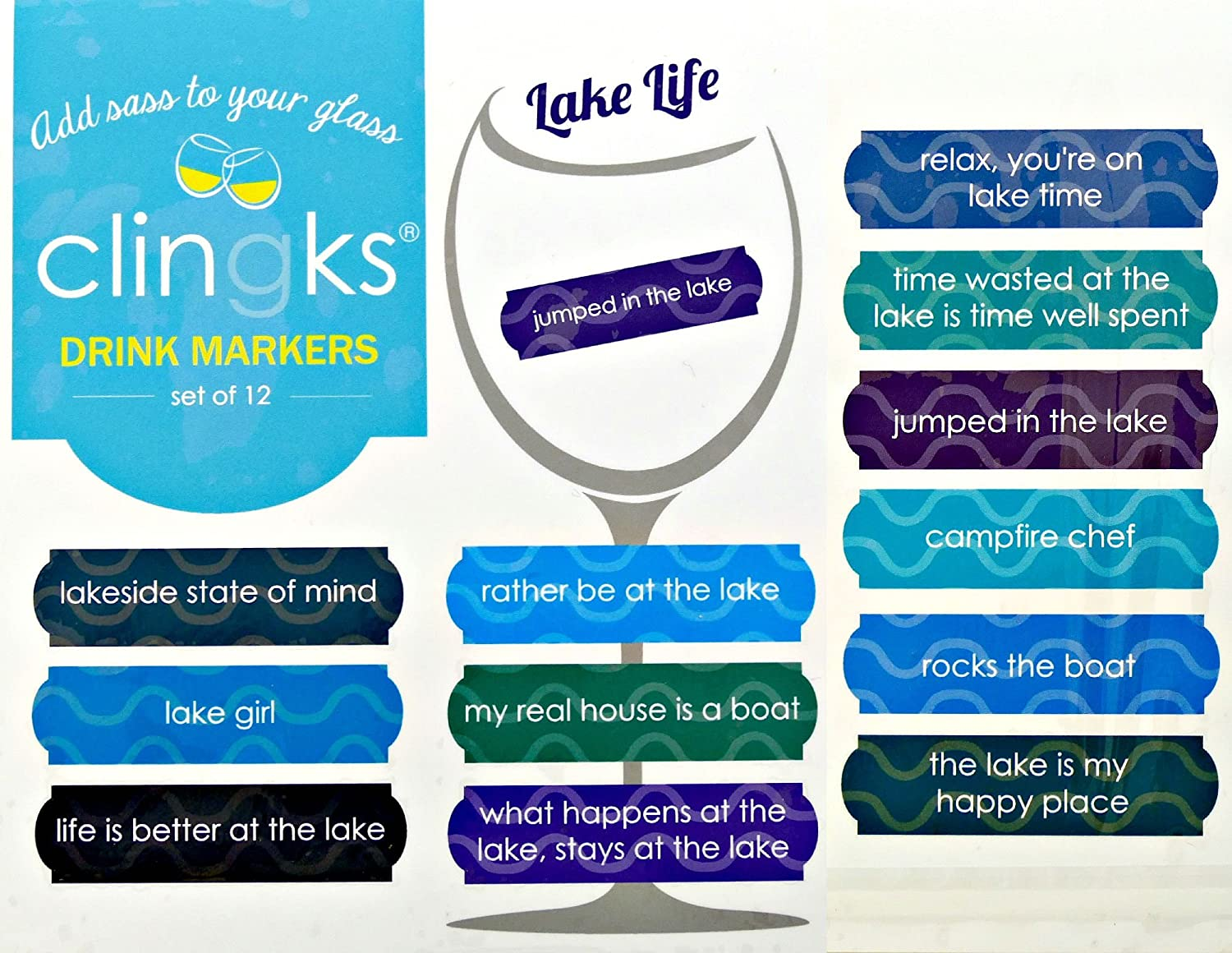 Clingks 12 Drink Markers - LAKE Fun Deluxe to C LIFE 2021 Alternative Wine