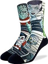 Good Luck Sock Men's Halloween Mugshots Socks - Black, Adult Shoe Size 8-13