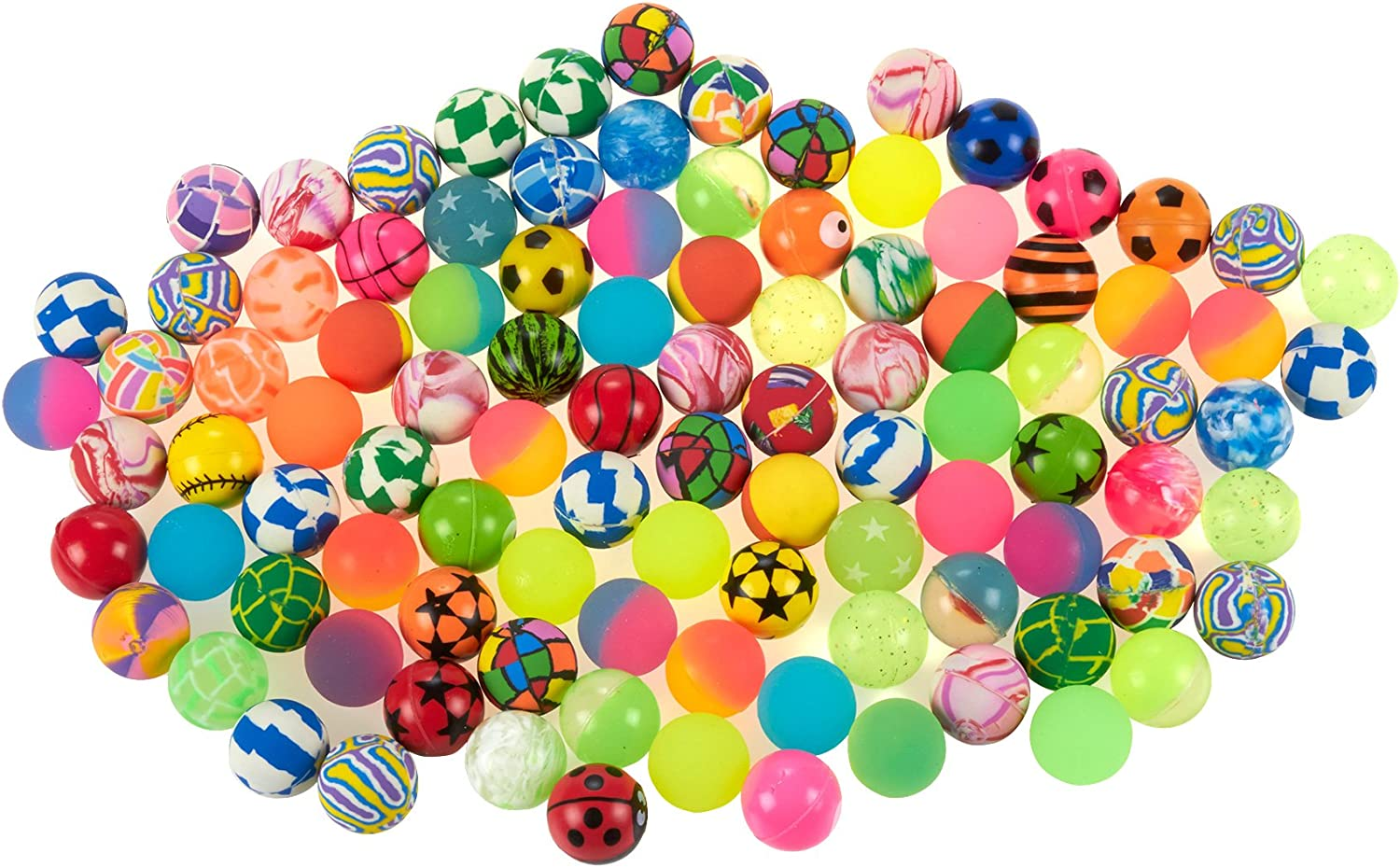 Bouncy Balls - Farbeful Bright Solid Farbe High Bouncing Balls Bulk Assorted Designs - 100 pcs 3.2cm - Bouncing Toy Balls For Family Kids Boys Girls Fun