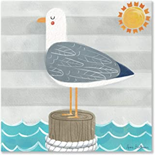 Oopsy daisy Let's Set Sail - Seagull Canvas Wall Art, 21x21, Blue