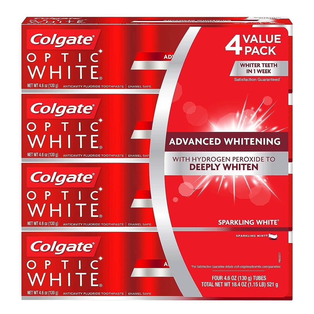 悪意のある額局海外直送品 コルゲートオプティックホワイトスパークリングホワイト 歯磨き粉 Colgate Optic White Sparkling White Toothpaste, Sparkling Mint (4.6 oz, 5 pk.) 130gx5本