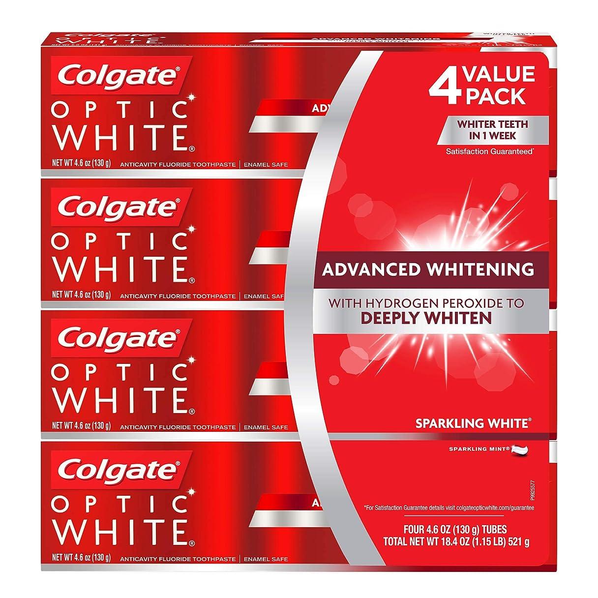 ムスお商人海外直送品 コルゲートオプティックホワイトスパークリングホワイト 歯磨き粉 Colgate Optic White Sparkling White Toothpaste, Sparkling Mint (4.6 oz, 5 pk.) 130gx5本