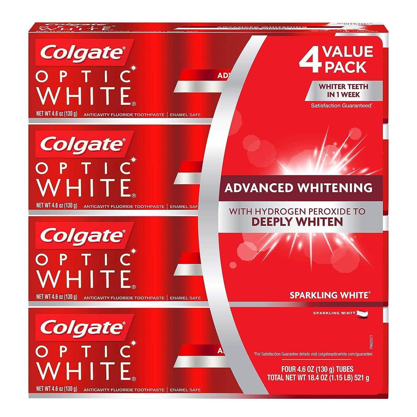コンピューターを使用する宇宙飛行士マイクロ海外直送品 コルゲートオプティックホワイトスパークリングホワイト 歯磨き粉 Colgate Optic White Sparkling White Toothpaste, Sparkling Mint (4.6 oz, 5 pk.) 130gx5本