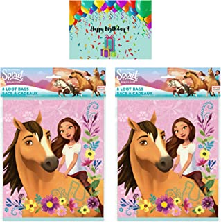 Spirit Riding Free Birthday Party Favor Loot Bags - Set of 16 Bundled with Birthday Card by JPMD Party House