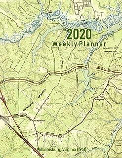 2020 Weekly Planner: Williamsburg, Virginia (1951): Vintage Topo Map Cover