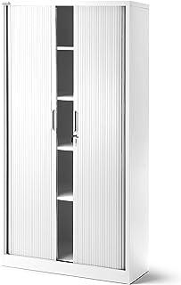 Jan Nowak by Domator24 T001 Rideaux Armoire de Bureau 4 étagères Porte roulante tôle d'acier verrouillable 185 cm x 90 cm ...
