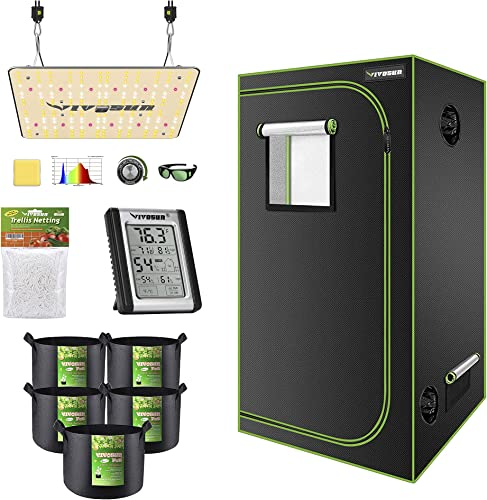 """new arrival VIVOSUN 36""""x36""""x72"""" Mylar Hydroponic Grow Tent Complete Kit sale with VS1000 LED Grow Light, Glasses, Grow discount Bags, Trellis Netting, Thermometer and Hygrometer online"""