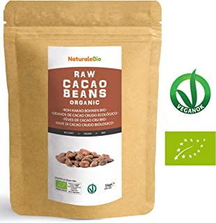 Granos de Cacao Crudo Ecológico 1Kg   100 % Bio, Natural y Puro   Cultivado en Perú a partir de la planta Theobroma cacao   Superalimento rico en antioxidantes, minerales y vitaminas   NATURALEBIO