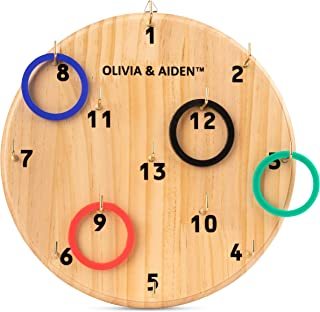 OLIVIA & AIDEN Ring Toss Game for Kids and Adults | Indoor - Outdoor Hook Board Ring Toss | Home, Office, Bar, Backyard or Poolside Game | 4 Color Ring Set for 4 Player Game | Carry Bag