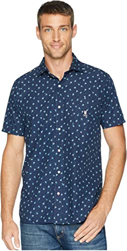 Short Sleeve Flower Toss Woven Shirt