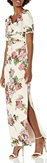 Adrianna Papell Women's Long Printed Floral D Dress