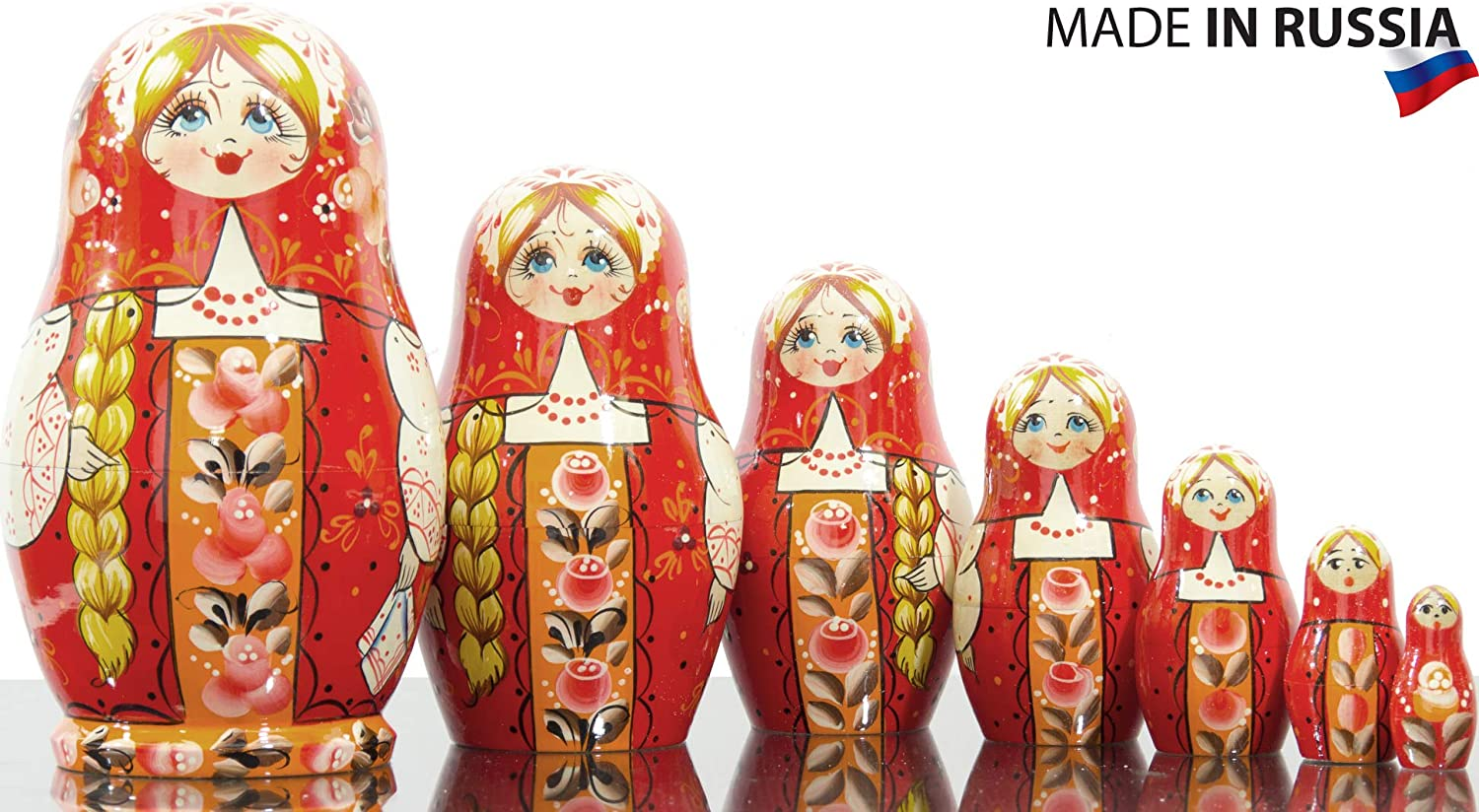 Russian Nesting Doll  Kirov  VJATKA  Hand Painted in Russia  Medium Size  Wooden Decoration Gift Doll  Matryoshka Babushka (Design A, 6.5``(7 Dolls in 1))