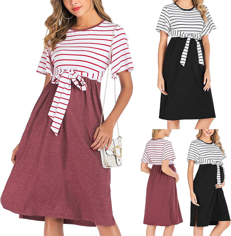 Women Summer Dresses Striped Patchwork Beach Dress O Neck Sundress Short Sleeve Maternity Dress with Bowknot