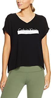 CALVIN KLEIN Women's V Neck S/S Top w Performance Logo